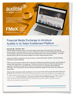 Financial Media Exchange to introduce  Audible to its Sales Enablement Platform
