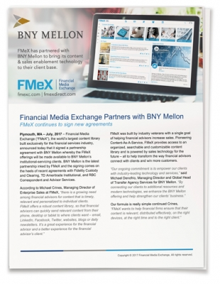 Financial Media Exchange Partners with BNY Mellon